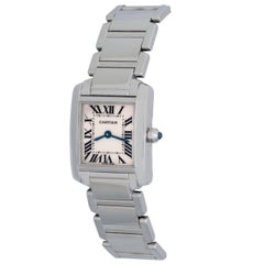Cartier Ladies Stainless Steel Tank Francaise Quartz Wristwatch Ref W50012S3