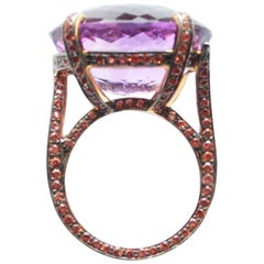 25.10 Carat Amethyst and Orange Sapphire Ring