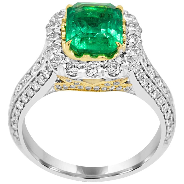 Columbian Emerald Diamond Halo Two-Color Gold Ring
