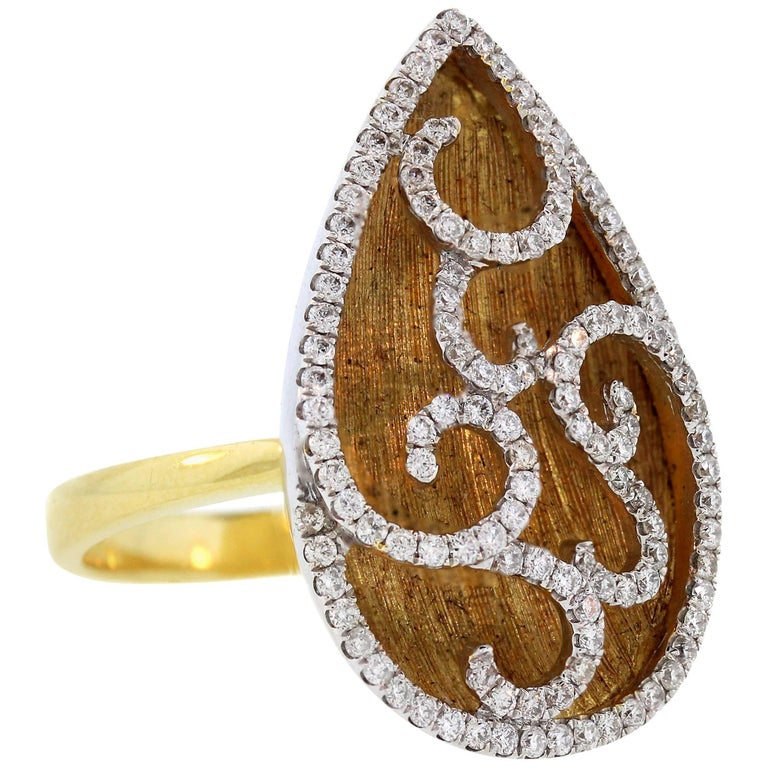 Openwork Pear Shape Gold and Diamond Ring