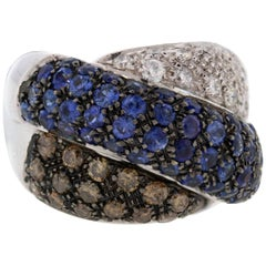 White Brown Diamond Blue Sapphire Gold Ring