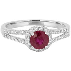 Ruby Diamond Single Halo Gold Ring