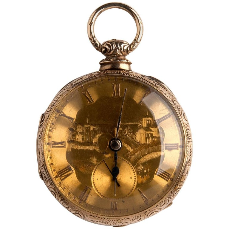 Solid 18 Karat Gold Verge Fusee Pocket Watch, Joseph Johnson, circa 1820-1830