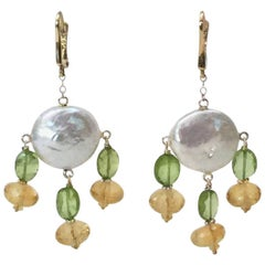 Critrine and Peridot Pearl Earrings with 14 Karat Yellow Gold Lever Back