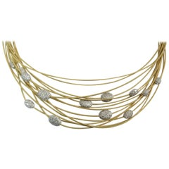Marco Bicego 18 Karat Yellow and White Gold 14 Stand Diamond Necklace