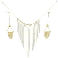 18 Karat Gold Fringe Necklace and Earring Set