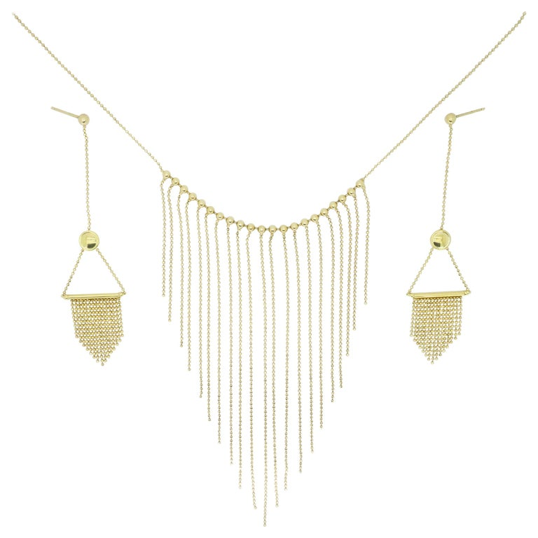 18 Karat Gold Fringe Necklace and Earring Set