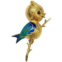 Vintage French Gold and Enamel Bird Pin