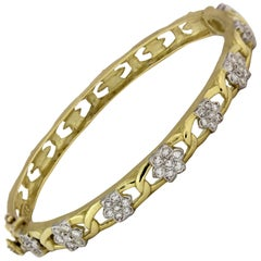 Stambolian Gold and Diamond Cluster Bracelet