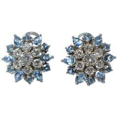 Topaz and Diamond Platinum Flower Earclip