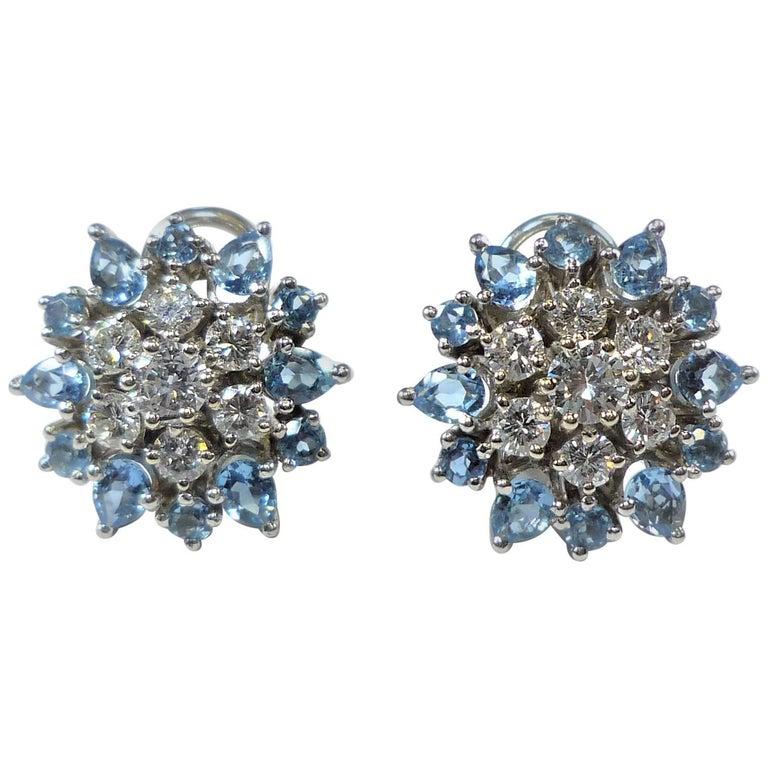 Topaz and Diamond Platinum Flower Earclip