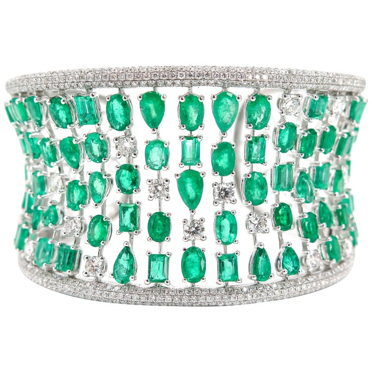White Gold Emerald and Diamond Cuff Bracelet