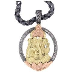 Stambolian Silver Gold Ganesh Pendant Necklace