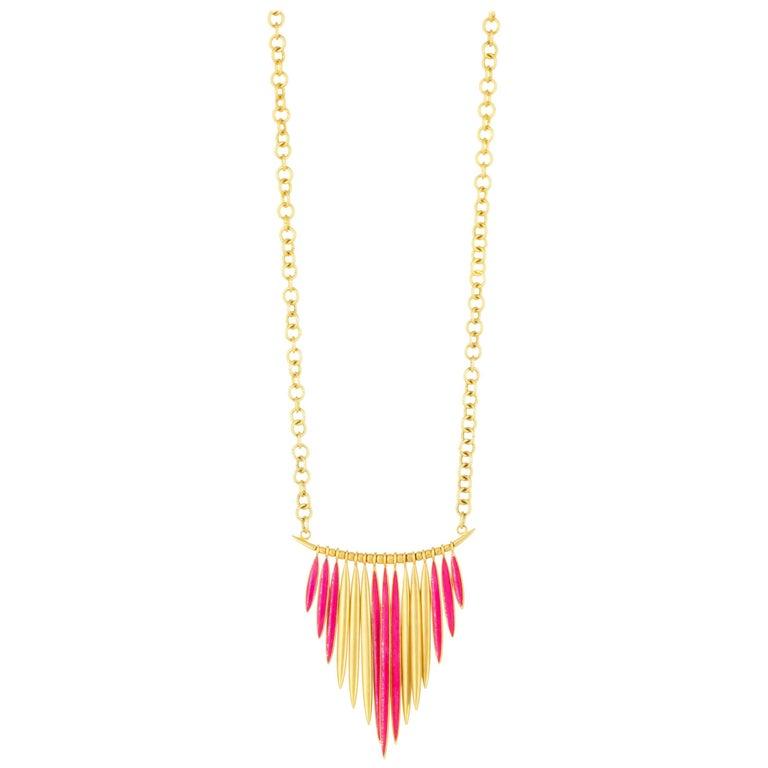 Lauren Harper 18kt Gold-Plated Brass, Cranberry Enamel Long Statement Necklace
