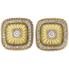Stambolian Yellow Gold and Diamond Earrings