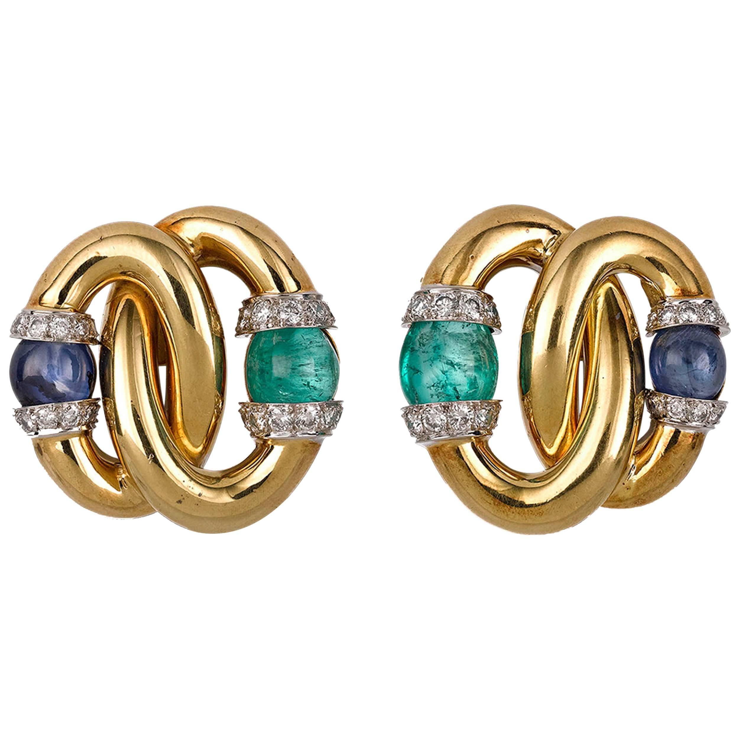 Diamond, Sapphire and Emerald Earrings by David Webb