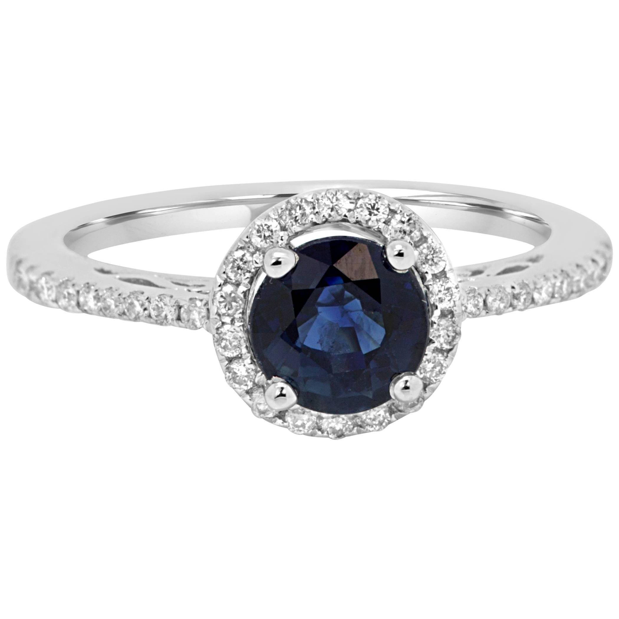 Blue Sapphire Round Diamond Halo White Gold Bridal Fashion Cocktail Ring