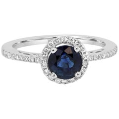 Blue Sapphire Diamond Single Halo Gold Ring