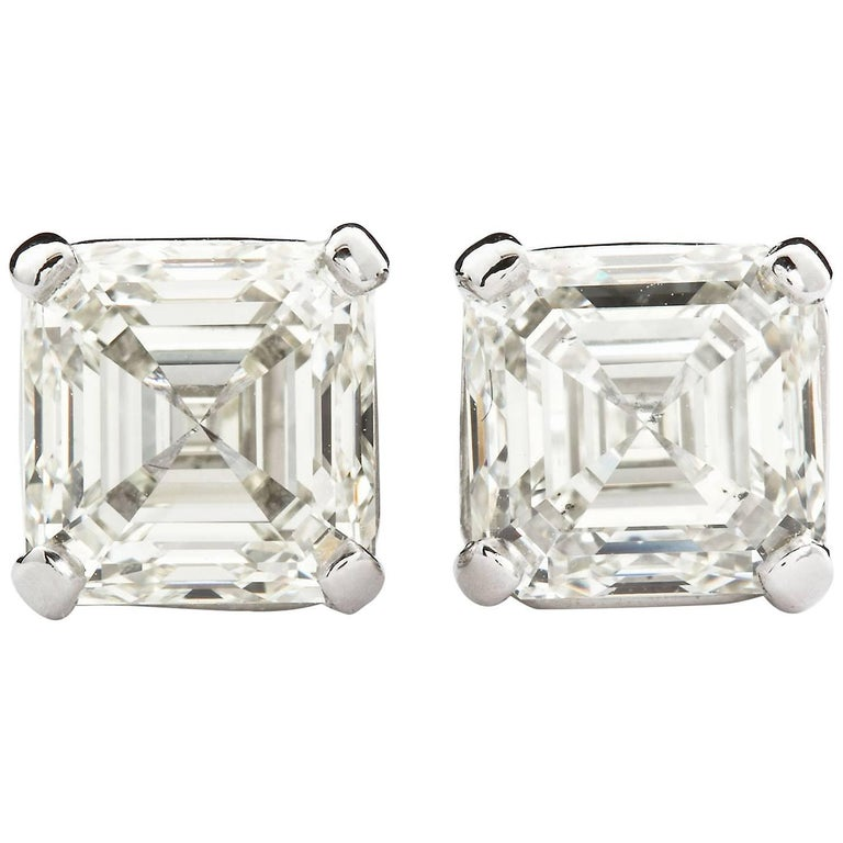 4.02 Carat Asscher Cut Diamond Stud Earrings