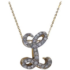 Vintage Initial L Diamond Pendant Necklace