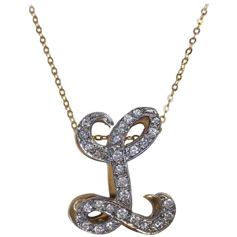 Vintage initial l diamond pendant necklace for sale at 1stdibs vintage initial l diamond pendant necklace 1 aloadofball Gallery