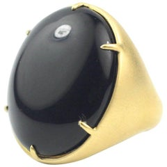 Julius Cohen Large Gold and Onyx Ring