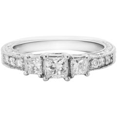 Three-Stone Princess Cut Diamond Gold Ring