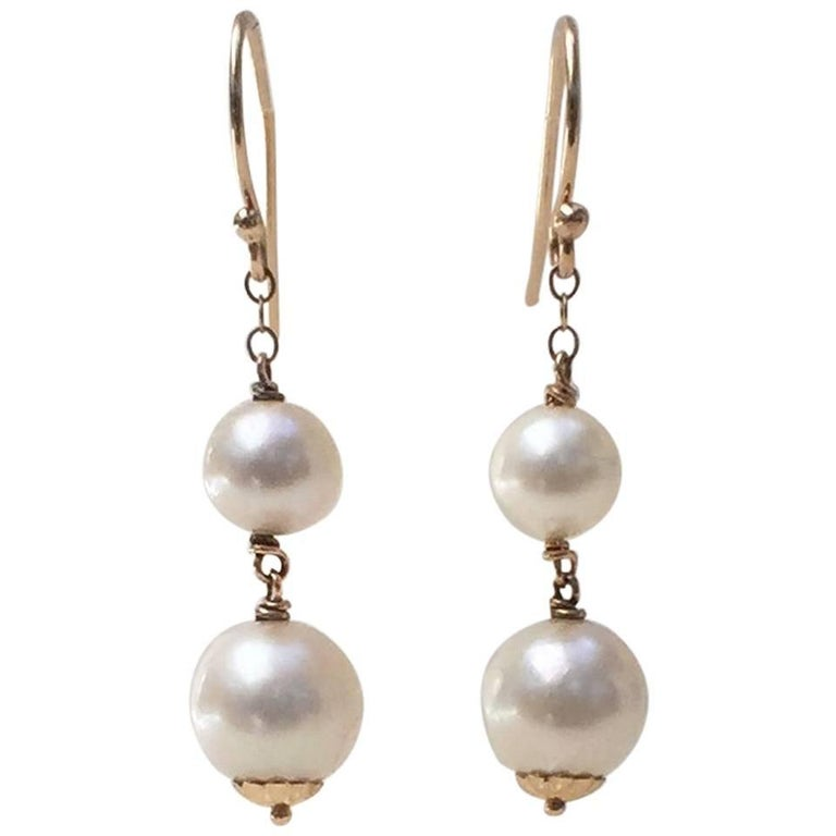 Double Pearl Earrings with 14 Karat Yellow Gold Hook and Wiring by Mairna J