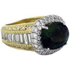 Stambolian Green Tourmaline Baguette Diamond Ring