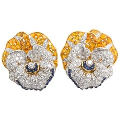 Oscar Heyman Diamond Blue Yellow Sapphire Pansy Earrings
