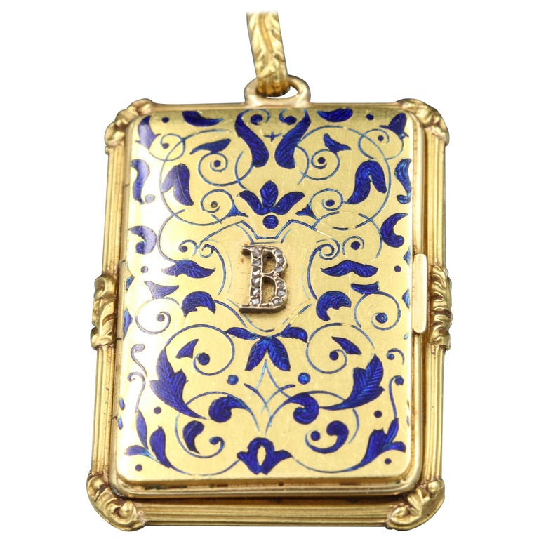 Early 19th Century Gold and Enamel Parisian Vinaigrette Pendant