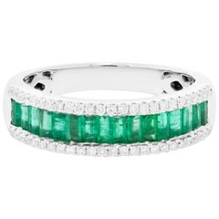 Emerald Baguettes Diamond Three-Row Band Gold Ring