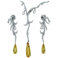 Palmiero Diamond and Yellow Topaz 18K Gold Earrings and& Necklace Set