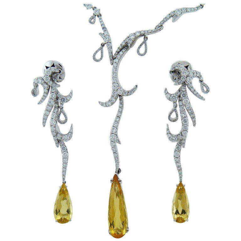 Diamond and Yellow Topaz 18K Gold Earrings and& Necklace Set, Palmiero For Sale
