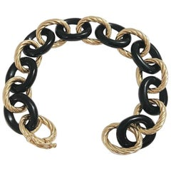 Alternating Yellow Gold Twist and Black Jade Link Bracelet