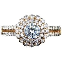 1.27 Carat Total Diamond Weight halo engagment ring with Rose Gold