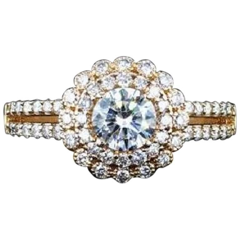 1.27 Carat Diamond halo engagement ring with Rose Gold