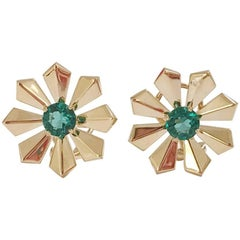 Art Deco Green Quartz Gold Flower Earrings