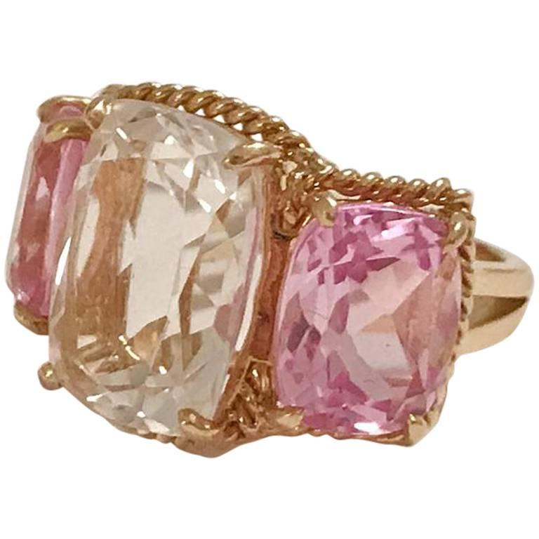 Elegant three stone rock crystal and pink topaz ring with for Elegant stone