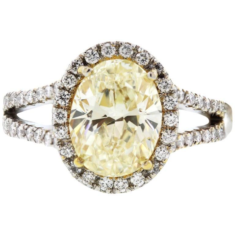 3.01 Carat GIA Certified Fancy Light Yellow Diamond Platinum Ring