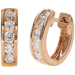 Rose Gold Diamond Huggie Hoop Earrings
