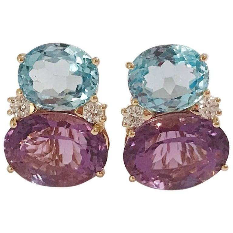 Large Gum Drop Earrings with Pale Blue Topaz and Bright Amethyst and Diamonds For Sale