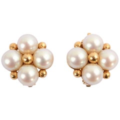 Wordley, Alsopp and Bliss Pearl Cluster Gold Earrings