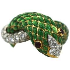 David Webb Iconic Green Enamel Snake Ring 18 Karat