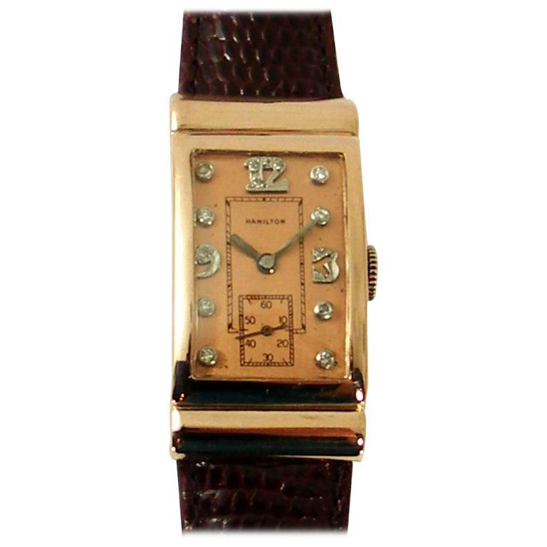 Hamilton Rose Gold Diamond Dial Wristwatch