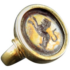 Antique Intaglio Signet Gold Ring with a Lion