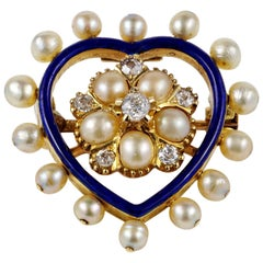 Victorian Diamond Natural Pearl Royal Blue Heart Pendant