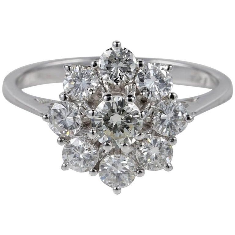 1.45 Carat G VVS Diamond Vintage Cluster Ring