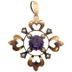 Antique Late Victorian Amethyst and Pearl Pendant, circa 1890s