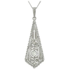 1920s Diamond White Gold Pendant